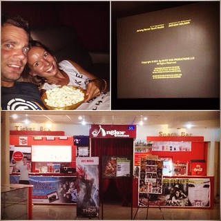 Private cinema in Canbodia, projector, comfy couch and popcorn, lovely.