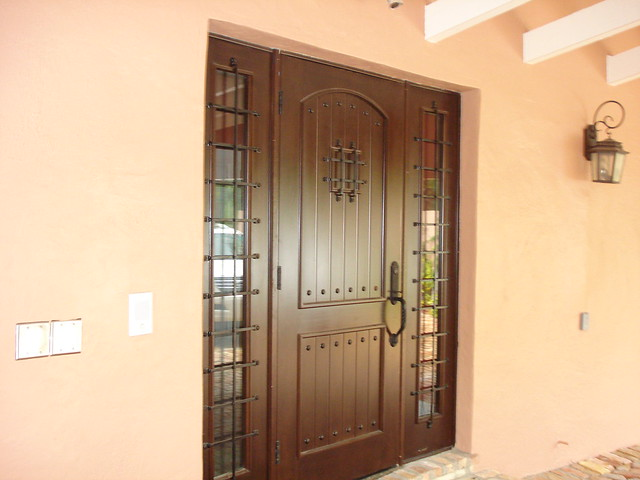 Mahogany Front Doors Wrought Iron Speak Easy Grill With