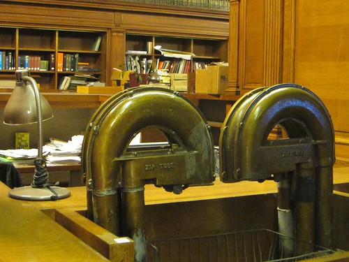 Pneumatic tubes at the New York Public Library.