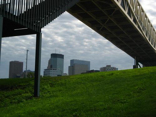 Pedestrian bridge and skyline