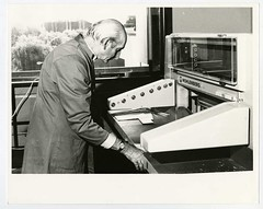 Don Hampshire and the bindery guillotine