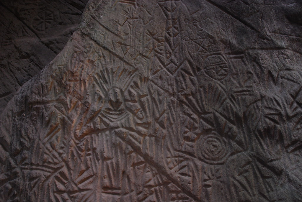 Stone carving inside edakkal cave