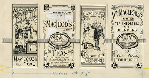 Black and white advertisement / label for MacLeod's Tea mounted on card