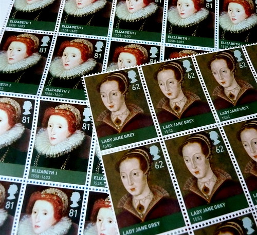 Lady Jane Grey and Queen Elizabeth I - British stamps