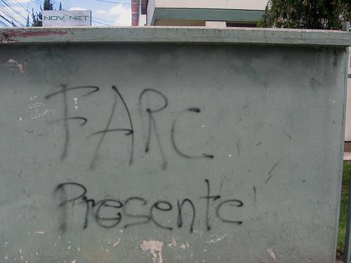 """north Quito (near Parque Carolina), Ecuador: """"FARC present"""""""