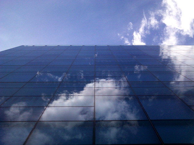 Reflection of a sky on a building -- camera phone photo