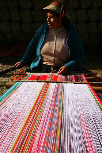 Placida at loom