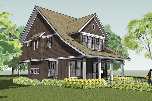Bayport Bungalow House Plan Rendering