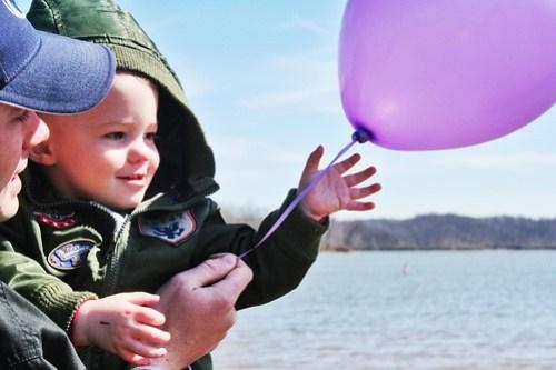 Releasing Purple Balloons in Memory of Maddie