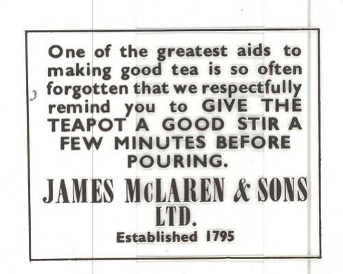 Advert for James McLaren & Sons Tea