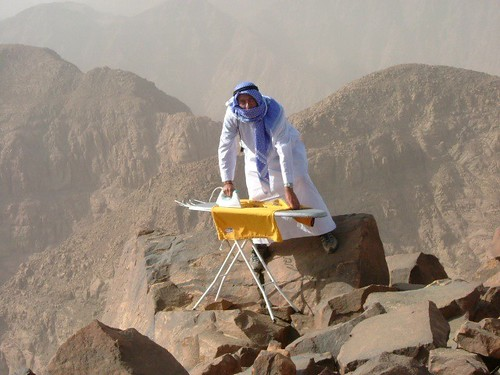 Extreme Ironing on a Mountain