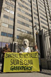Protesta Greenpeace sobre Cambio Climático.