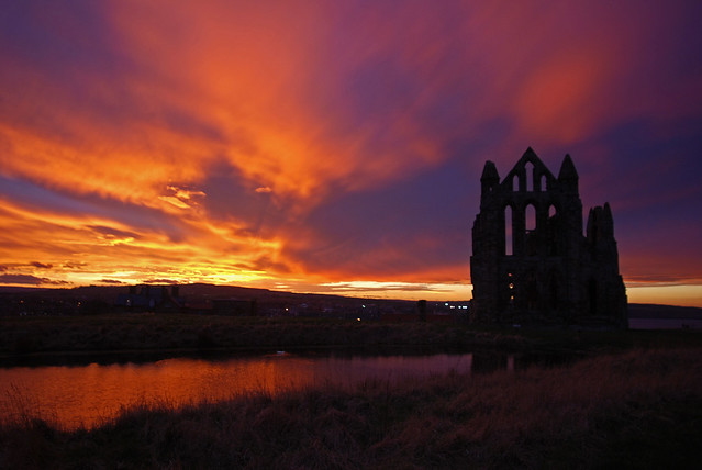Whitby Castle Red Sky At Night Whitby Abbey Standing On