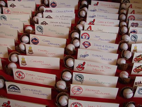 Baseball Name Card Table