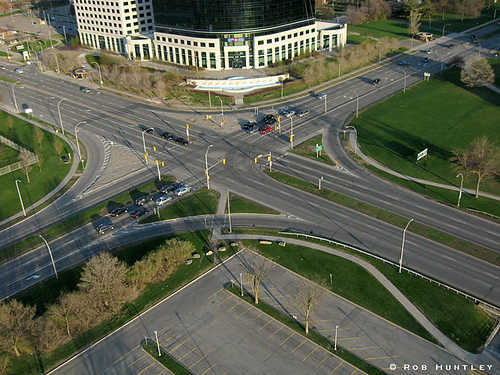 Aerial photograph in front of the Canada Post Headquarters in Ottawa, Ontario.