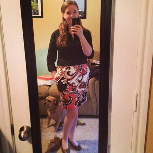 Second day of work outfit! Skirt: gift from Keri, Merona; shoes: Payless