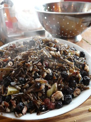 Steaming Wild Rice with Blueberries