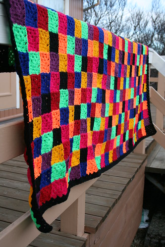 Solid Granny Square Blanket