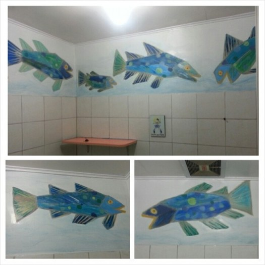 Mural#3: Fishes in the bathroom. I just found them cute. Inspired by Eric Carle's Rooster's Off to See the World.   #mural #preschool #bathroom #fish