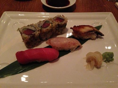 Sushi course with eel, sea bass, tuna and a tuna and asparagus roll.