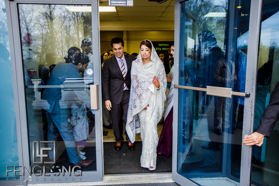 Exiting the Atlanta Jamatkhana after Nikkah