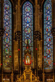 Notre Dame De La Treille, Lille, France.  Stained glass.  La Sainte Chapelle.