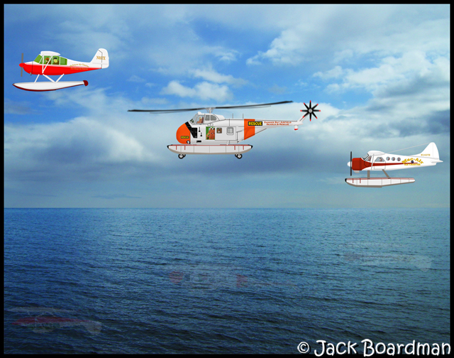 UH-19B, L16 and Dehavilland floats headed home