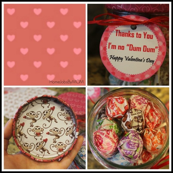 making valentines day teacher gift jars