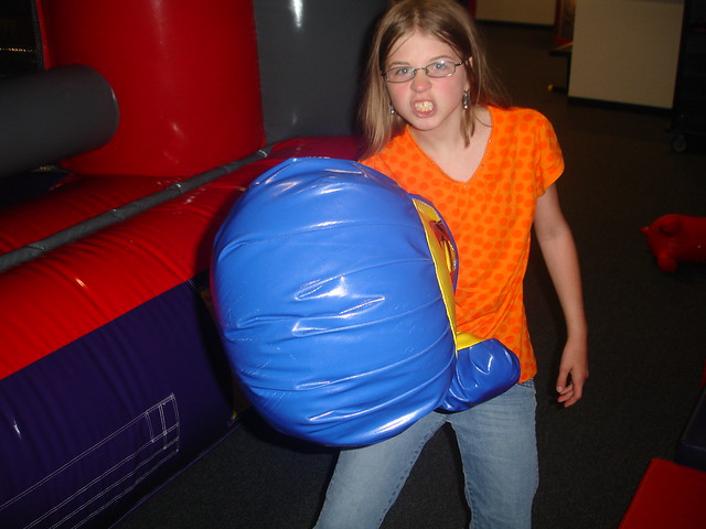 boxing gloves at BounceU Fishers