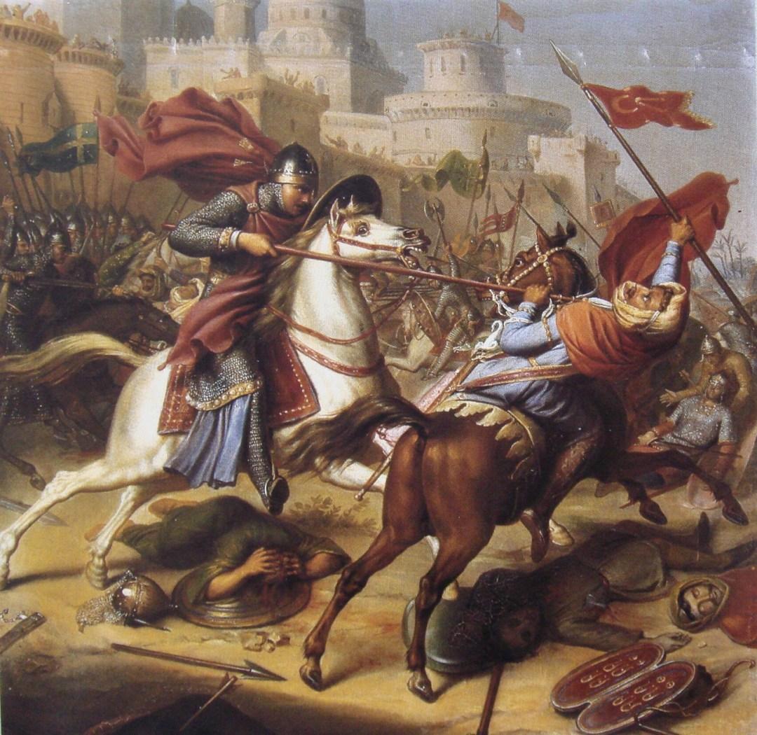 6. Caballeros e infieles en la Primera Cruzada. Obra de J.J. Dassy, 1850