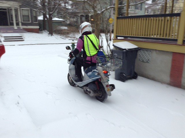 Feet up on the floorboards of the Buddy scooter in an inch & a half of snow, probably would have been smarter to take the knobby-tired DR350