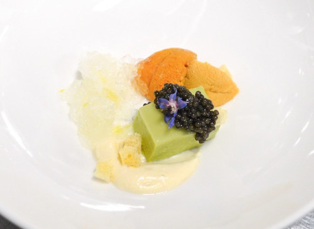 Siberian Osetra Caviar haas avocado, sea urchin, sake, silken tofu
