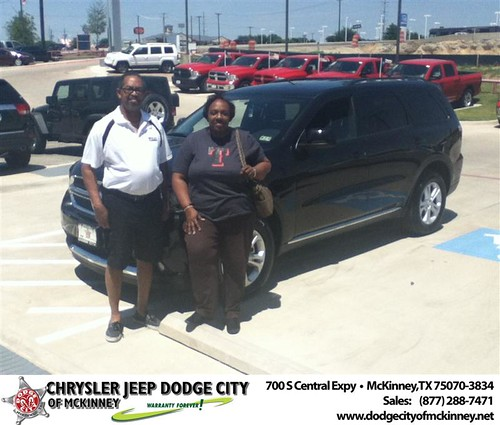 Dodge City of McKinney would like to say Congratulations to Phyllis Sweat on the 2013 Dodge Durango from Bobby Crosby by Dodge City McKinney Texas