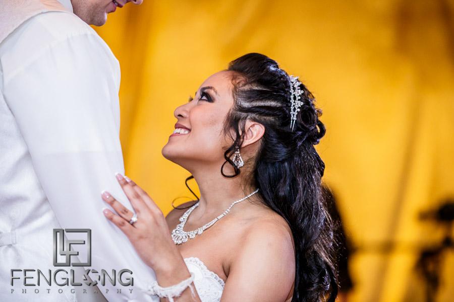 Bride and groom dance to open the floor