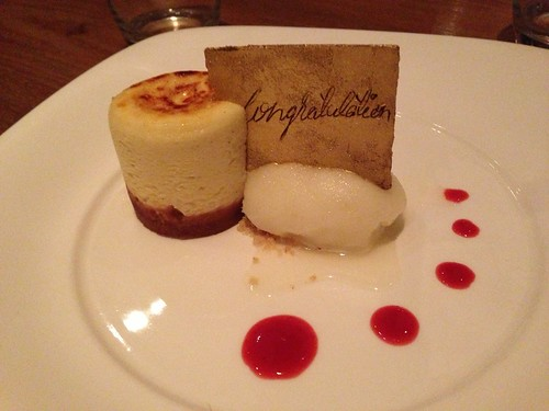 Nobu restaurant's cheesecake with honeymoon congratulations.
