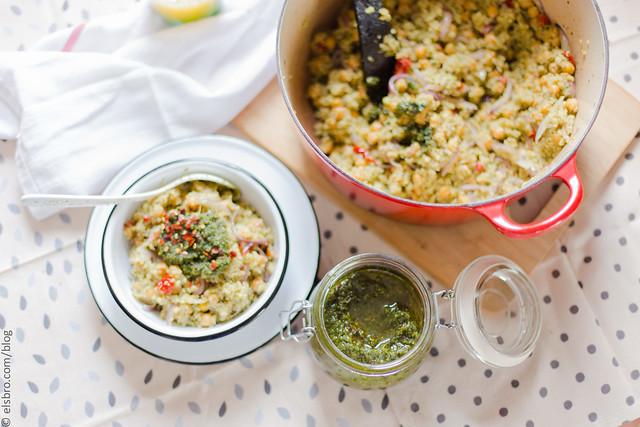 Quinoa, Chickpeas and Pesto