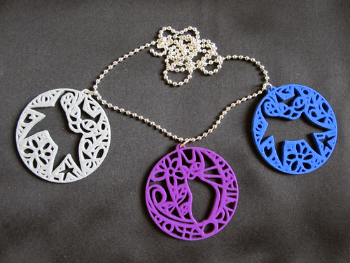 'Kittyspirals' 3D printed pendants