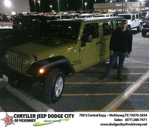 Thank you to Kyle Harrivel on your new 2013 #Jeep #Wrangler Unlimited from David Walls and everyone at Dodge City of McKinney! #NewCarSmell by Dodge City McKinney Texas