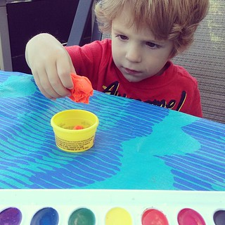 Playdoh and paint outside- it won't last long but I'm thankful while it does