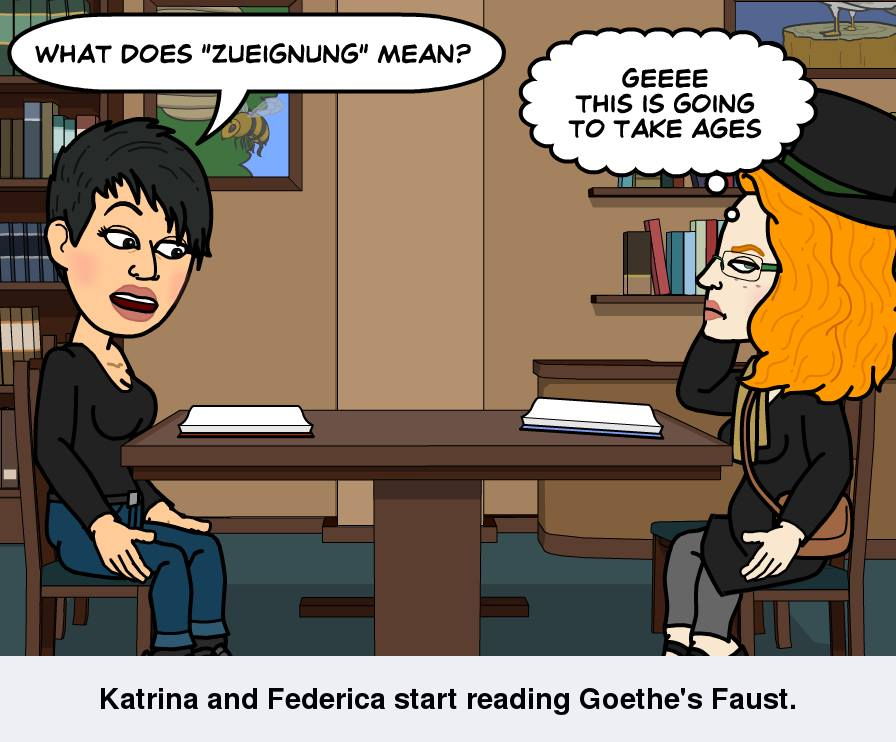 Bitstrips Photos, Katrina and Federica Start Reading Goethe's Faust, 2. Oktober 2013