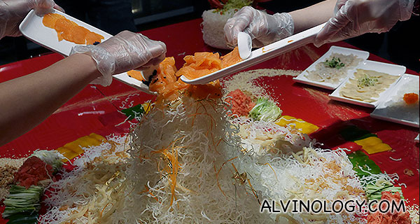 Adding the seafood