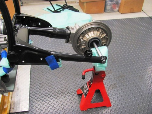 Swing Arm Supported by Jack Stand