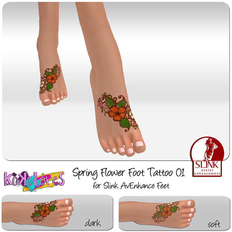 [KoKoLoReS]BP - Spring Flower Foot tattoo 01