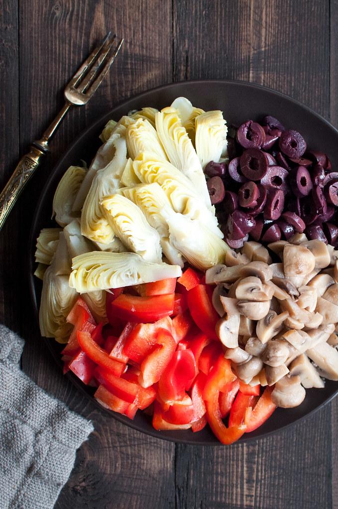 Vegetarian antipasto orzo pasta salad