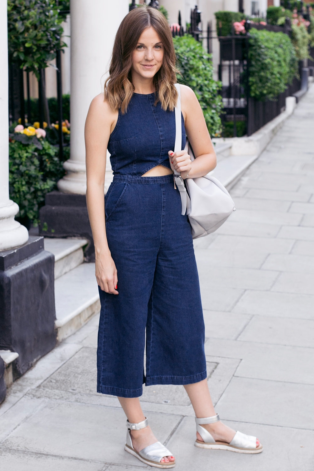 Denim cut out jumpsuit Topshop