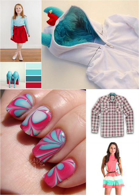 Red Aqua White Wearables Collage