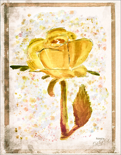 Image of a painted Yellow Rose