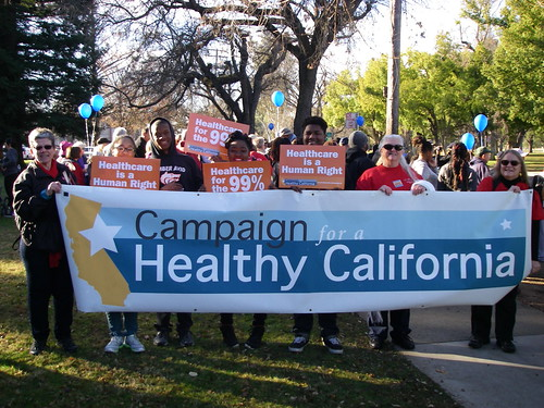 The Campaign for a Healthy California lead a march in Sacramento to honor Dr. Martin Luther King and promote healthcare for everyone as a human right.