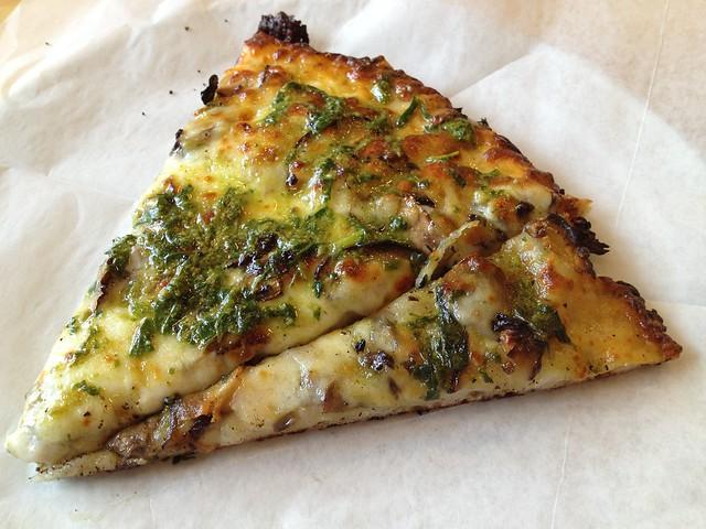 Mixed mushroom and pesto pizza - Arizmendi Bakery