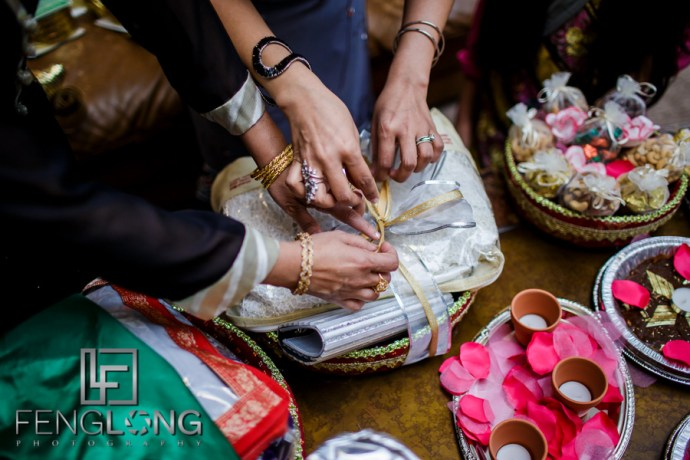 Tying gift baskets for Mehndi ceremony